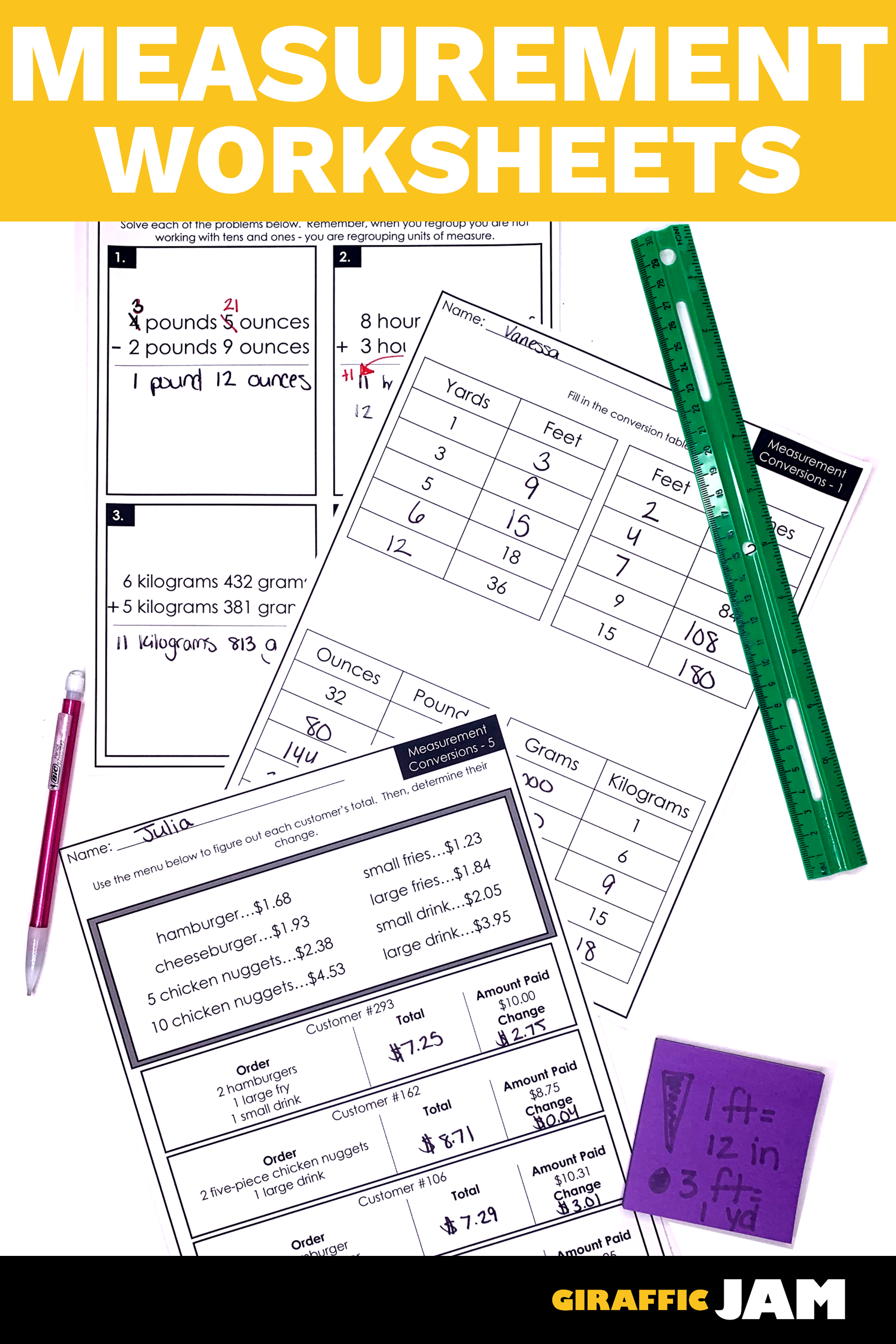 hight resolution of 4th Grade fractions   Converting Measurements   Measurement Worksheets   4th  Grade Math W…   Measurement worksheets
