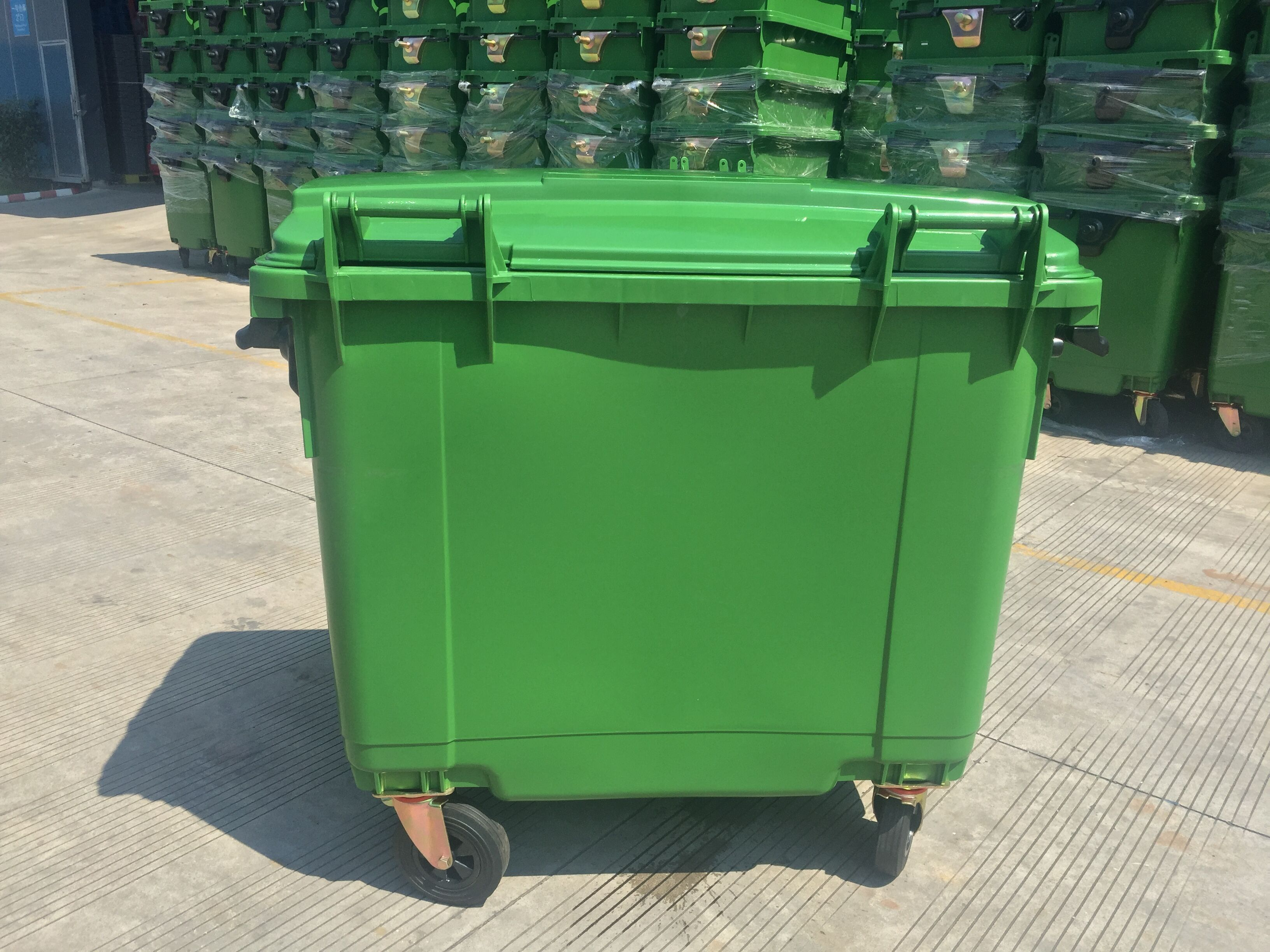Eco Friendly Wholesale Lidded 660 Liter Plastic Garbage Waste Bin For Construction Garbage Waste Garbage Containers Garbage Bin