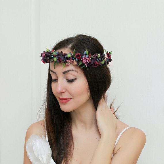 Fall Wedding Hairstyles With Flower Crown: Purple Blue Floral Crown Flower Halo Bridal Headband