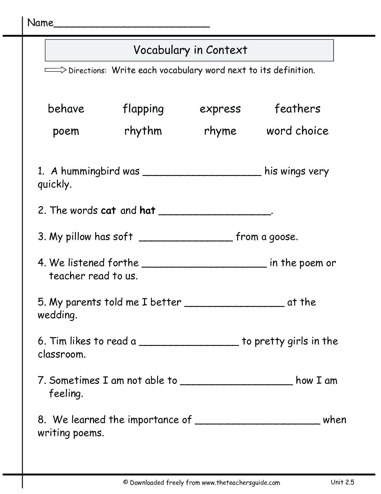 Officialmemorable 5th Grade English Worksheets