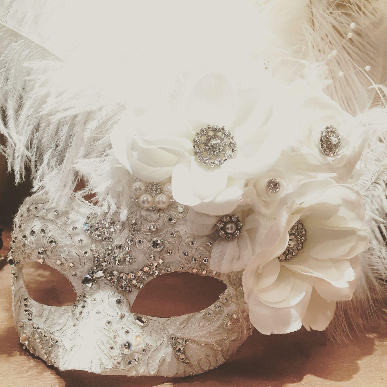 Beautiful bridal ornate Ivory white lace masquerade mask ...