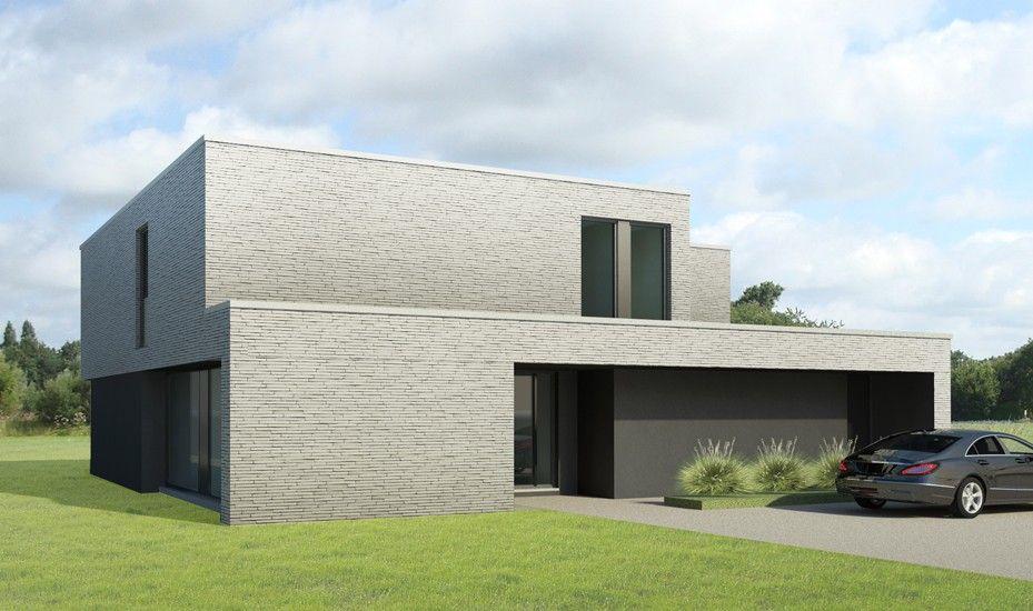 S3a villa in grijze gevelsteen 01 moderne architectuur for Woningen moderne villa