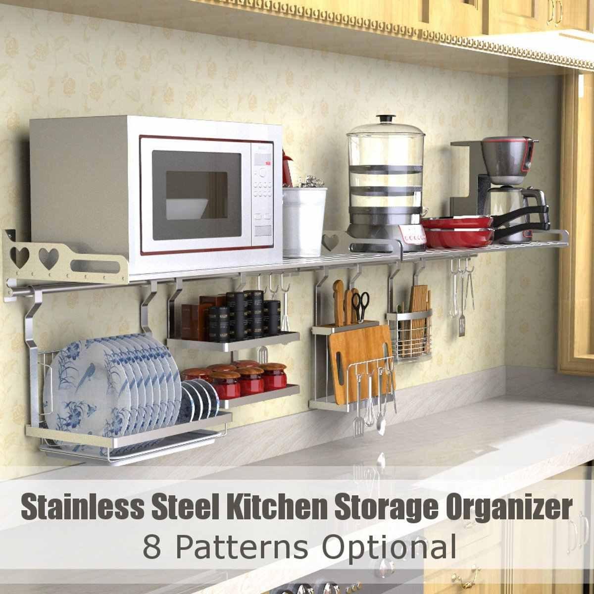 8 種類ステンレス鋼キッチンオーガナイザー多機能食器乾燥ラック壁掛け収納ホルダー食器棚水切り 2020 ポットカバー キッチン ナイフホルダー