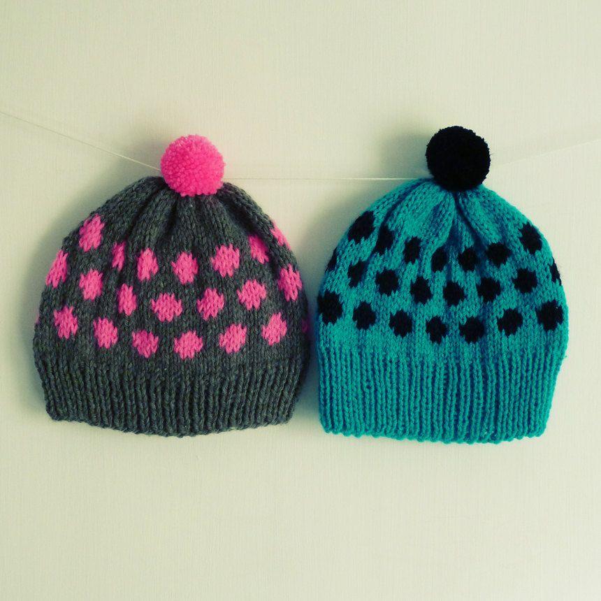 Beanie Knitting Pattern Hat Polka Dots Baby Adult 7 Sizes