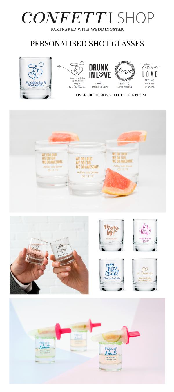 Personalized Shot Glass Wedding Favor | Shot glasses