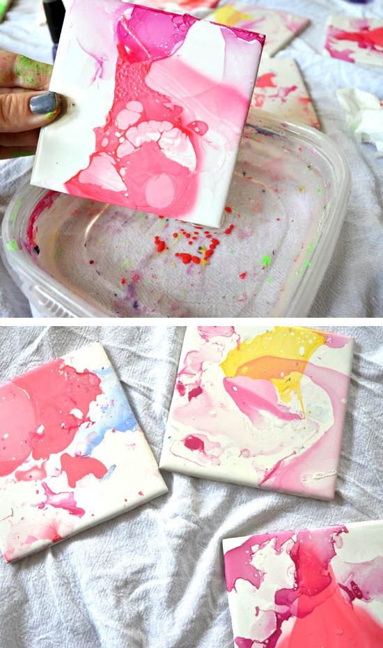 Watercolor Effect Tile Coasters An Easy Diy With Nail Polish And