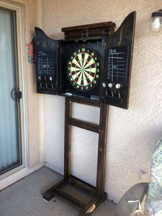 Updated Dart Board Cabinet Stand Dartboard Stand Diy Dart Board Cabinet Dart Board