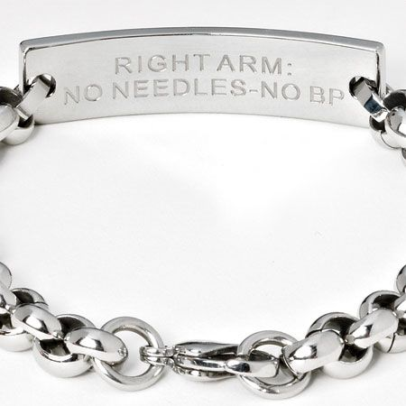 Stainless Steel Medical Alert Bracelet Cancer Recovery Lymphedema Tlc