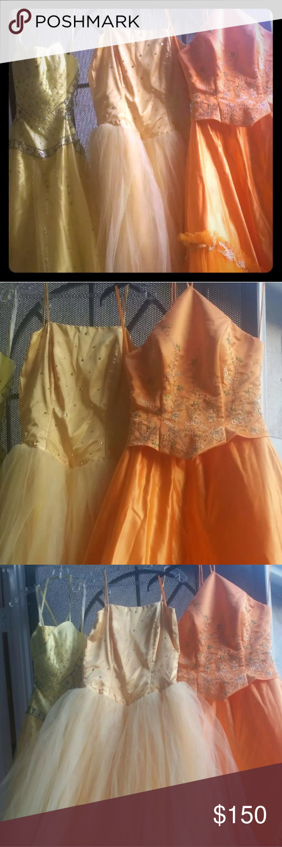 EVENING DRESSES on SALE! SIZES 6, 8,10 3 Beautiful LONG GOWNS LONG GOWNS for any occasion you will find it suitable for. 1st Yellow dress from the Left Side paid $475 ..asking $150..       Super beautiful with beads.the sides and  the back are attached with beaded   straps. Will fit size 8...the chest was adjusted for more coverage.  2nd Yellow Dress was costume made...Size 8-10 paid $370 asking $70        There are stones on The top, some of them fell off 3rd Orange dress is Size 6 halter…