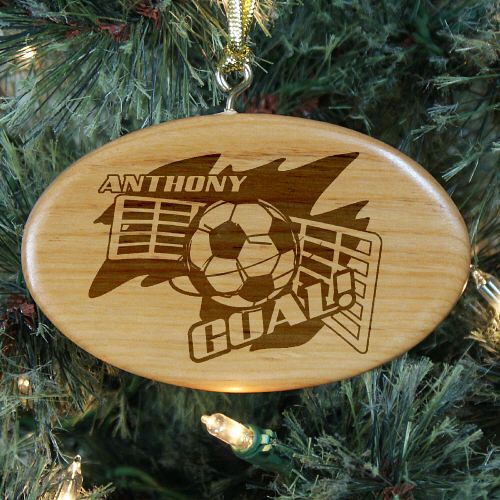Engraved Soccer Player Wooden Oval #Christmas Tree Ornaments This