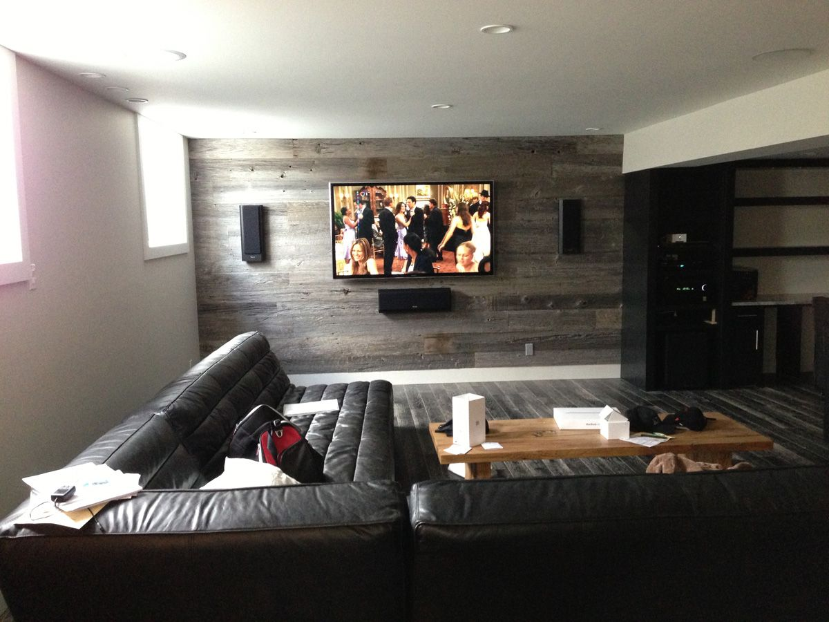 Beautiful in wall speaker system installed on a wall - Home theater sound system design ...