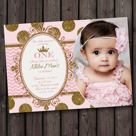 Super Cute First Birthday Invitation Pink And Gold Customized Princess Invitations