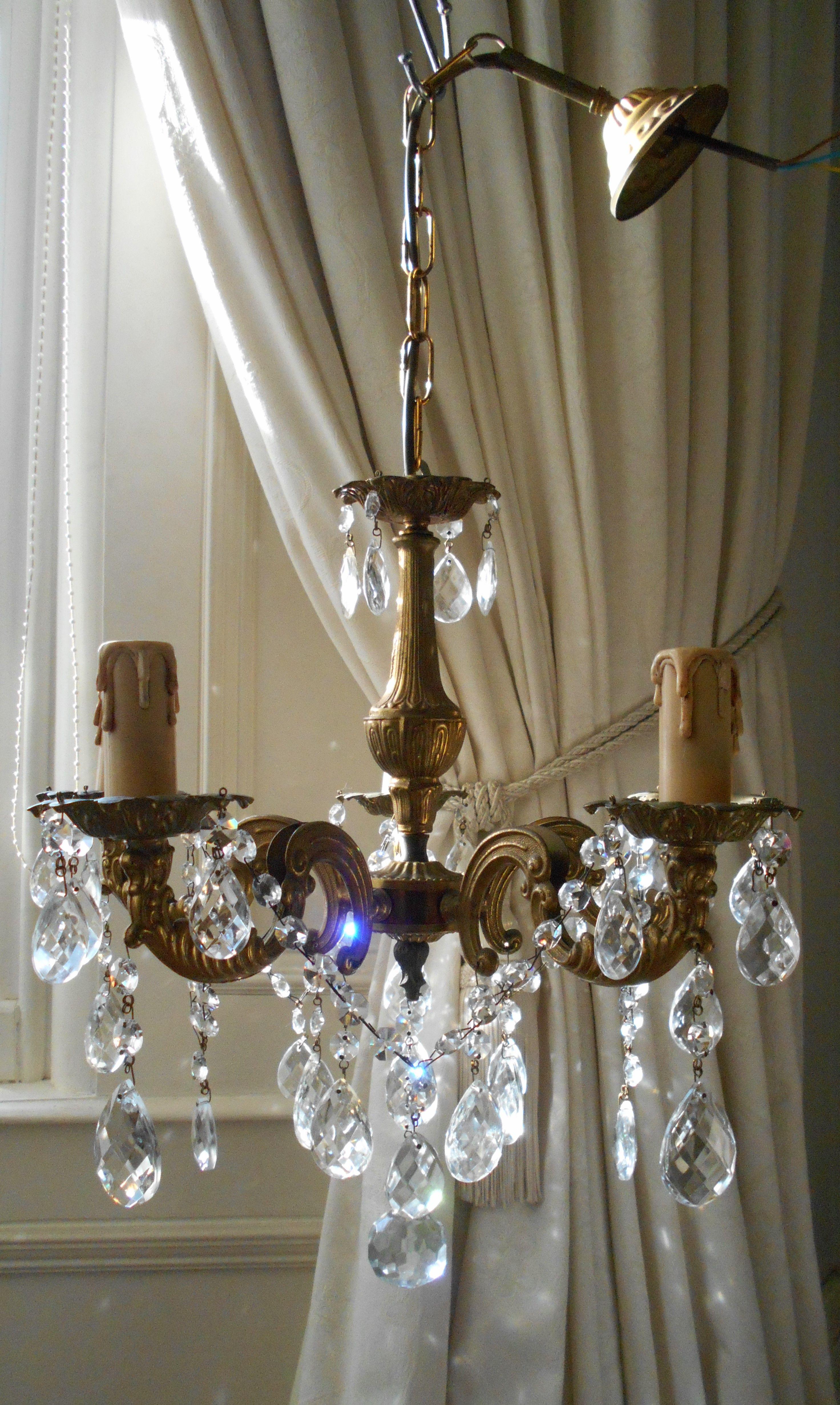 Vintage Frenh Bronze 5LT Crystal Chandelier
