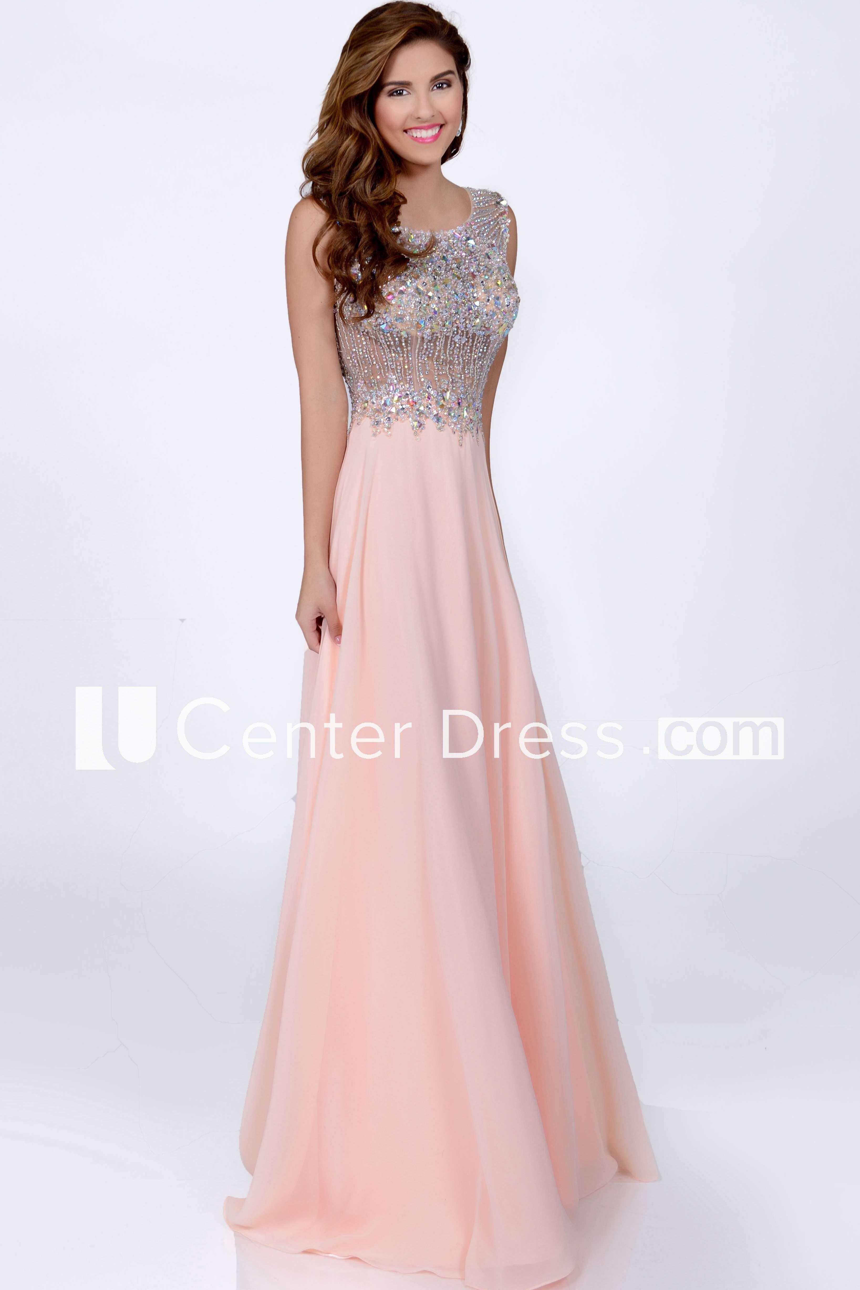 Sleeveless aline bateau neck chiffon prom dress featuring keyhole