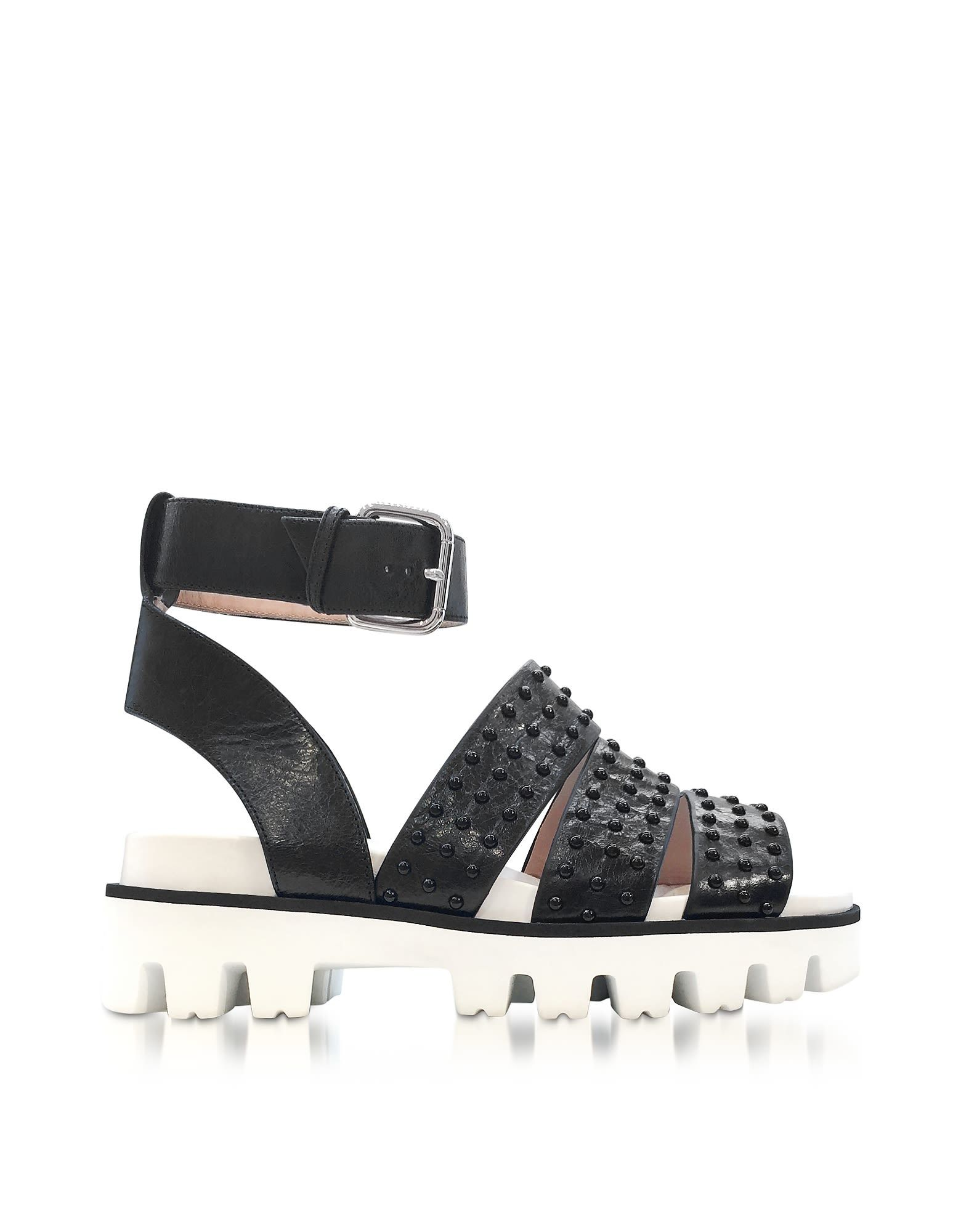 RED Valentino Shoes, Leather Flat Sandals w/Studs