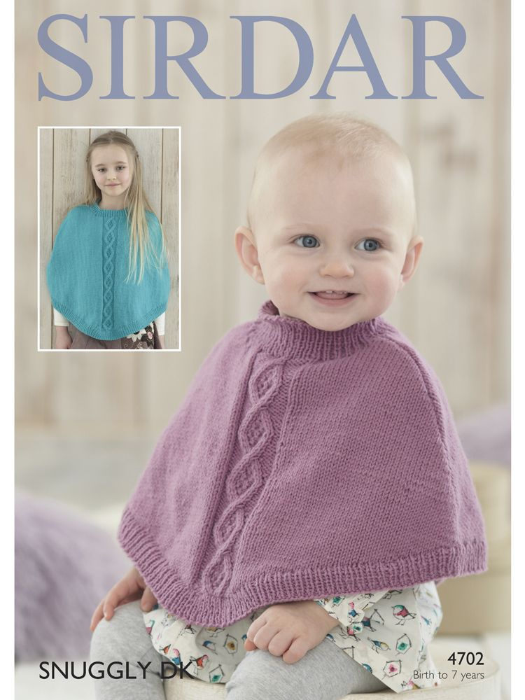 Sirdar 4702 Ponchos knit in DK (#3) weight. For babies and children ...