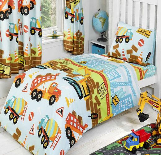 Under Construction Colourful Toddler Bedding Set For Boys
