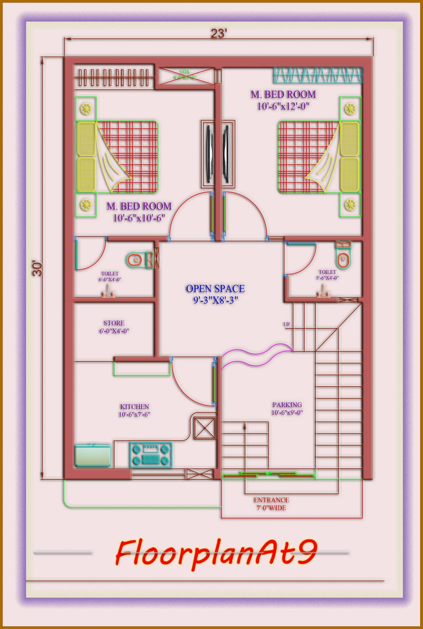 House Plan 23x30 West Facing Budget House Plans My House Plans 2bhk House Plan