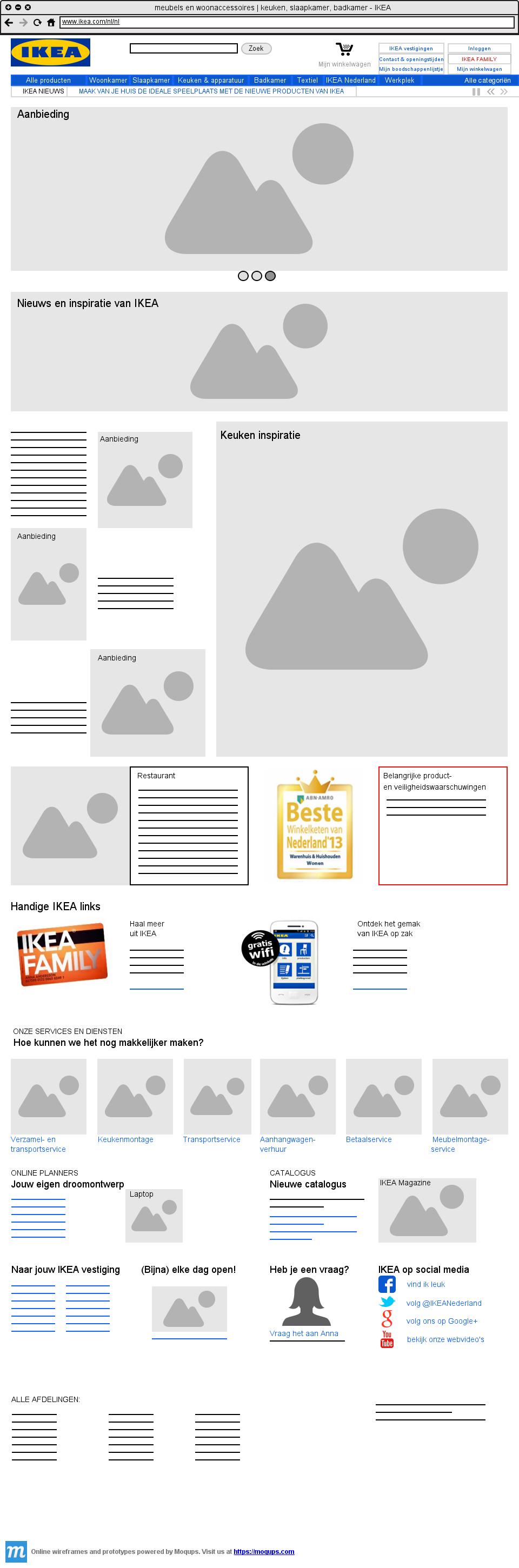Website van IKEA gemaakt met Moqups.