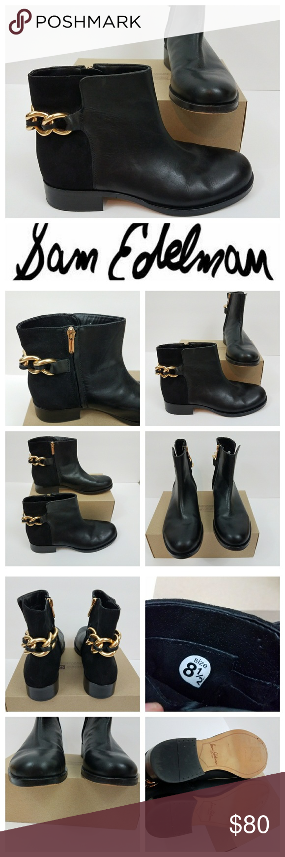 cf01a73b9770bd Sam edelman Chester ankle boots chain leather Sam edelman Chester ankle  boots. Leather and suede