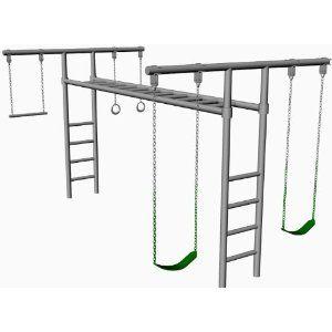 Freestanding monkey bars garden backyard pinterest for How to make a metal swing set frame