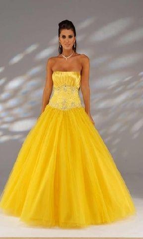 prom dress ball gowns yellow  yellow wedding dress