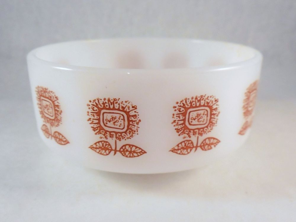 Vintage Federal Glass Heatproof 1 Cup Bowl Brown Sunflowers Feg21 Federalglassco Glassware Glass Bowl