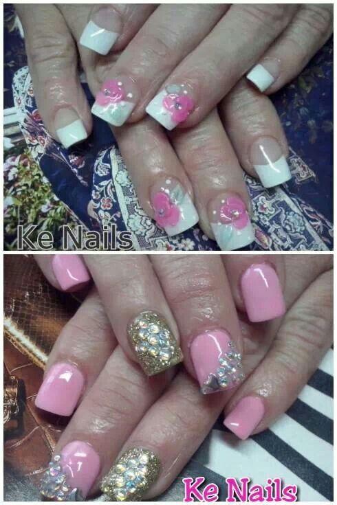 Rosas Piedras Unas Decoradas Nails