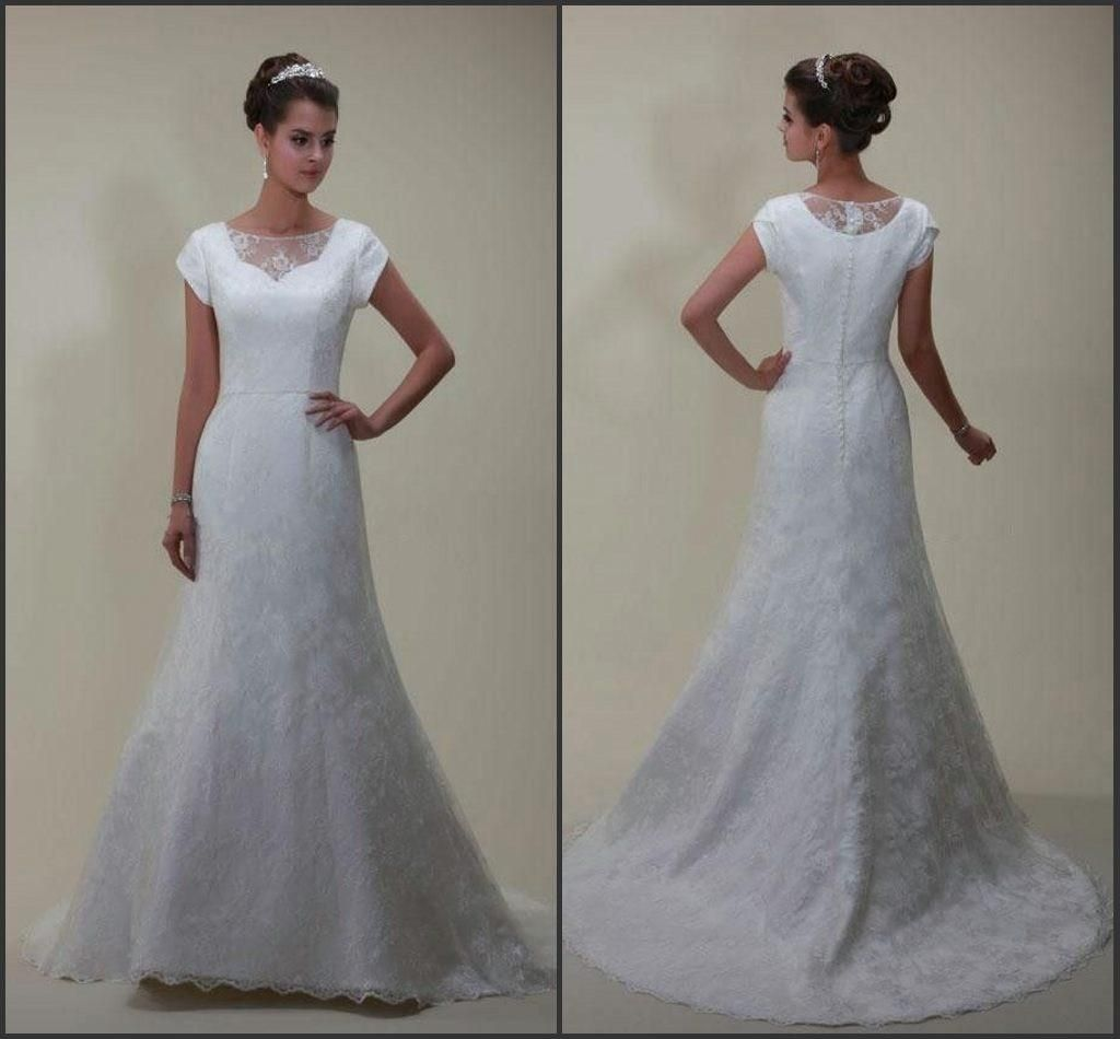 2015 modest wedding dress sweetheart neckline with lace illusion ...