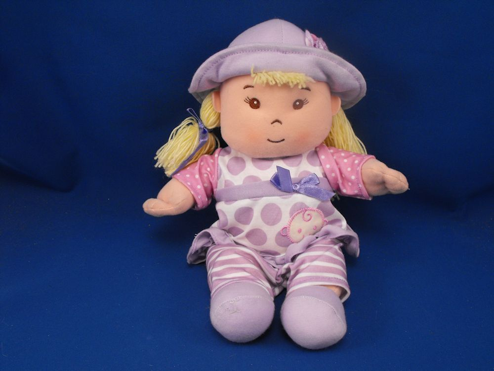 4 SALE - 'HK City Toys Blond Doll Lavender Hat Polka Dot Outfit' added to Dirty Butter Plush Animal Shoppe! - $8.00 - HK City Toys Plush 12 inch Blond Doll - Yellow Yarn Pigtails - Lavender Satin Bows - Embroidered Face - Brown Eyes - Lav…