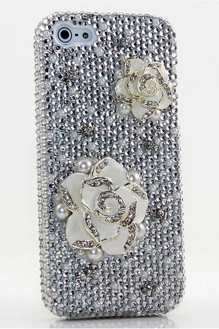 Plain White Rose Design iPhone 5 5c 5s bling case cover glitter for girls