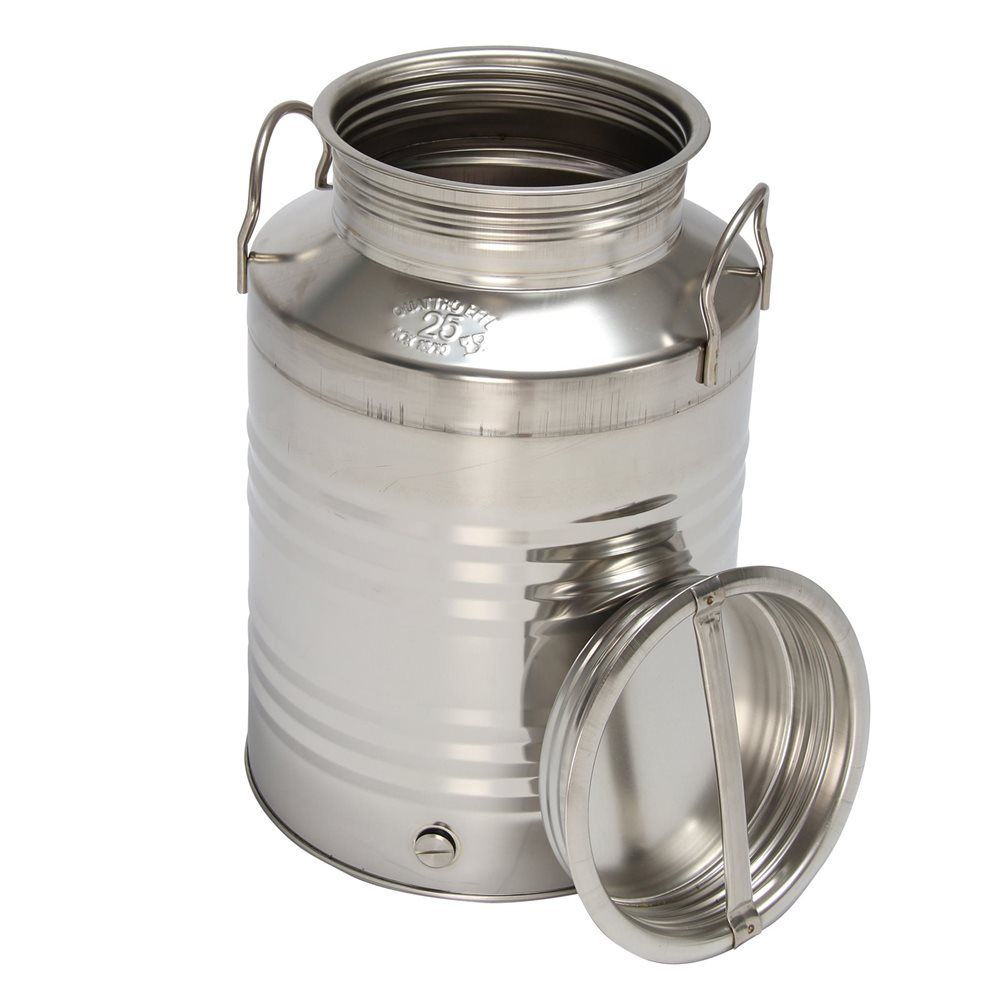 Stainless Steel 25 Litre Oil Can With A Flat Bottom Tap 2 Handles Airtight Screw Lid Canning Stainless Steel Dark Home Decor