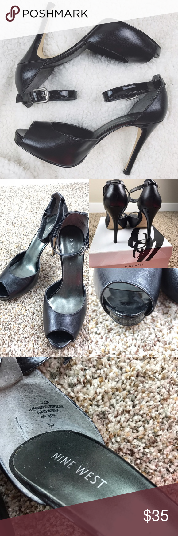 Nine West LISCOR Black Leather heels Gently Used• reference pictures• minor nick at front point of right pump • reference pictures• stunning open toe black leather heel/pump with ankle strap• perfect for any outfit and occasion **PRICE FIRM** Nine West Shoes Heels