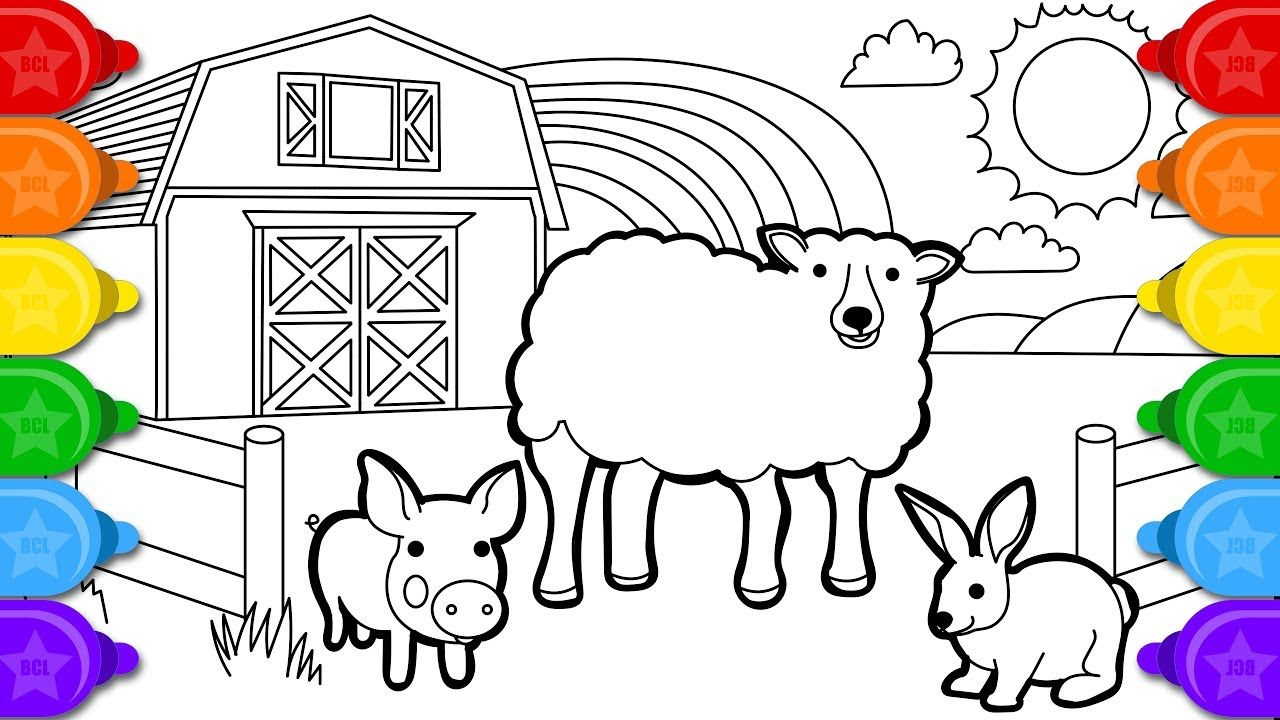 Glitter Sheep Farm Animals Coloring And Drawing For Kids How To