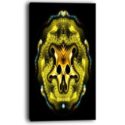 "DesignArt Large Gold Symmetrical Fractal Heart Graphic Art on Wrapped Canvas Size: 20"" H x 12"" W x 1"" D"