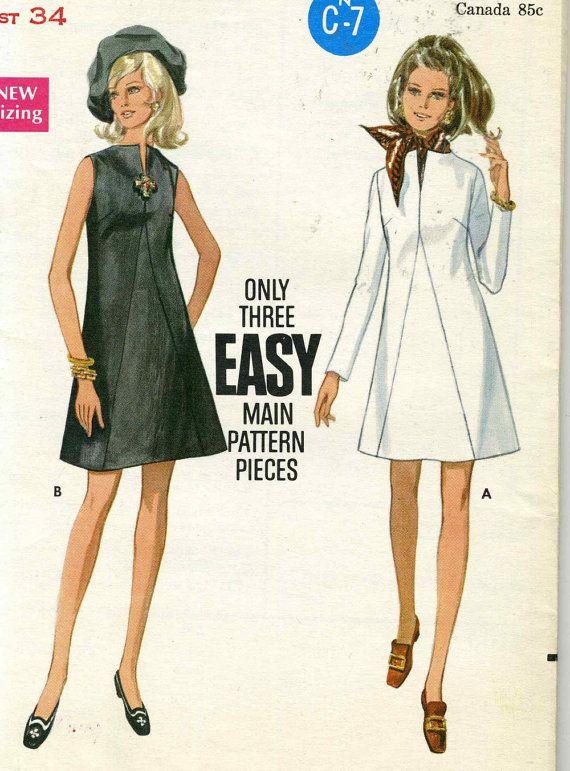 Vintage 1960s Butterick 5506 UNCUT Misses A-Line Dress with Seam ...