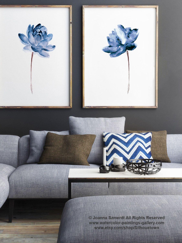 Lotus set of watercolor painting blue water flowers art print