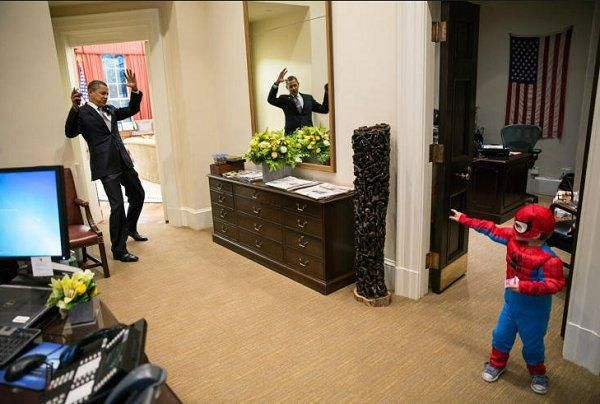 President Obama is stuck in Spiderman's web.