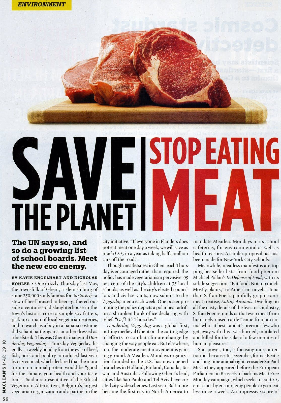 A magazine article urging people to stop eating meat to