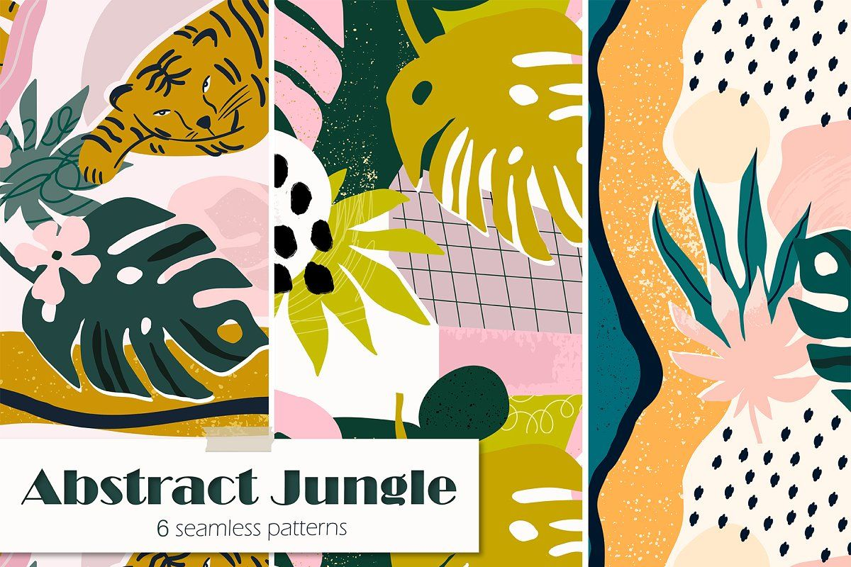 Ad: Abstract Jungle by Twisted Tail on @creativemarket. Hello, dear Friends! This is a Abstract Jungle pattern collection All these elements can be a great decoration for any of your project. You #creativemarket #junglepattern