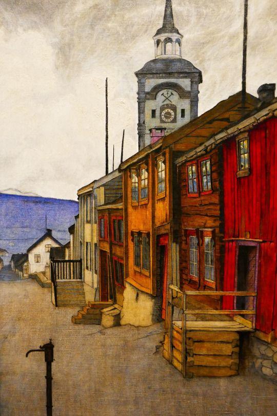 Harald Sohlberg (Norwegian, 1869-1935) Street in Røros, 1902