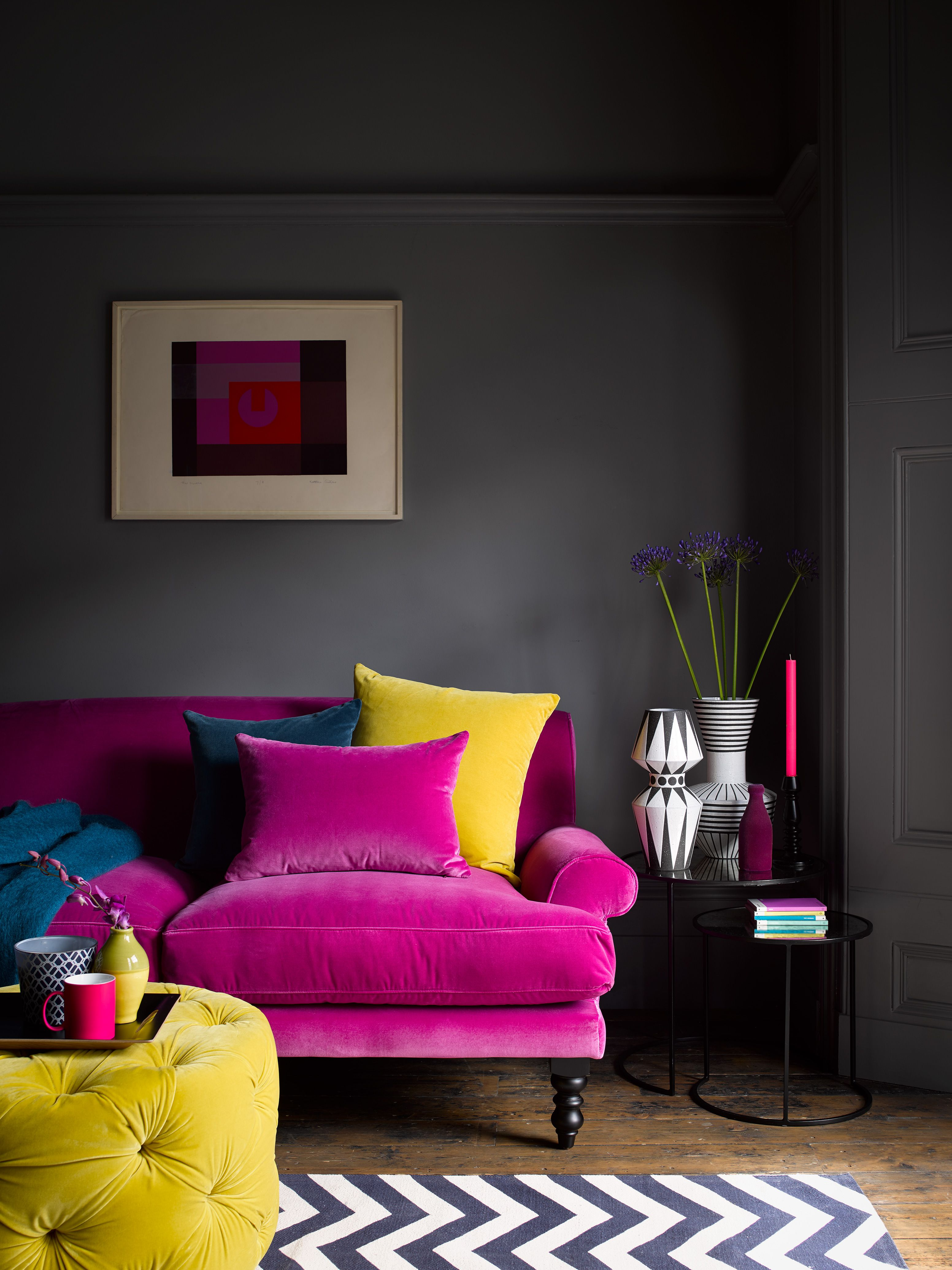 Opt For Bold Jewel Like Colours To Warm Up Your Interiors This Season With Our Stunning Rang Velvet Sofa Living Room Colourful Living Room Living Room Designs
