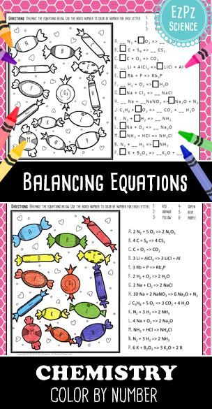 Balancing Equations Chemistry Color By Number Candy Chemistry