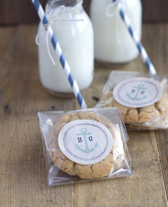 Nautical Milk and Cookie Wedding Favors