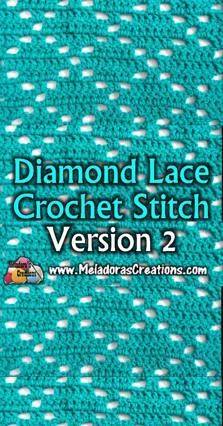 How to crochet a Diamond pattern - Diamond Lace Crochet Stitch 2 - Free Crochet Tutorials - Meladora's Creations