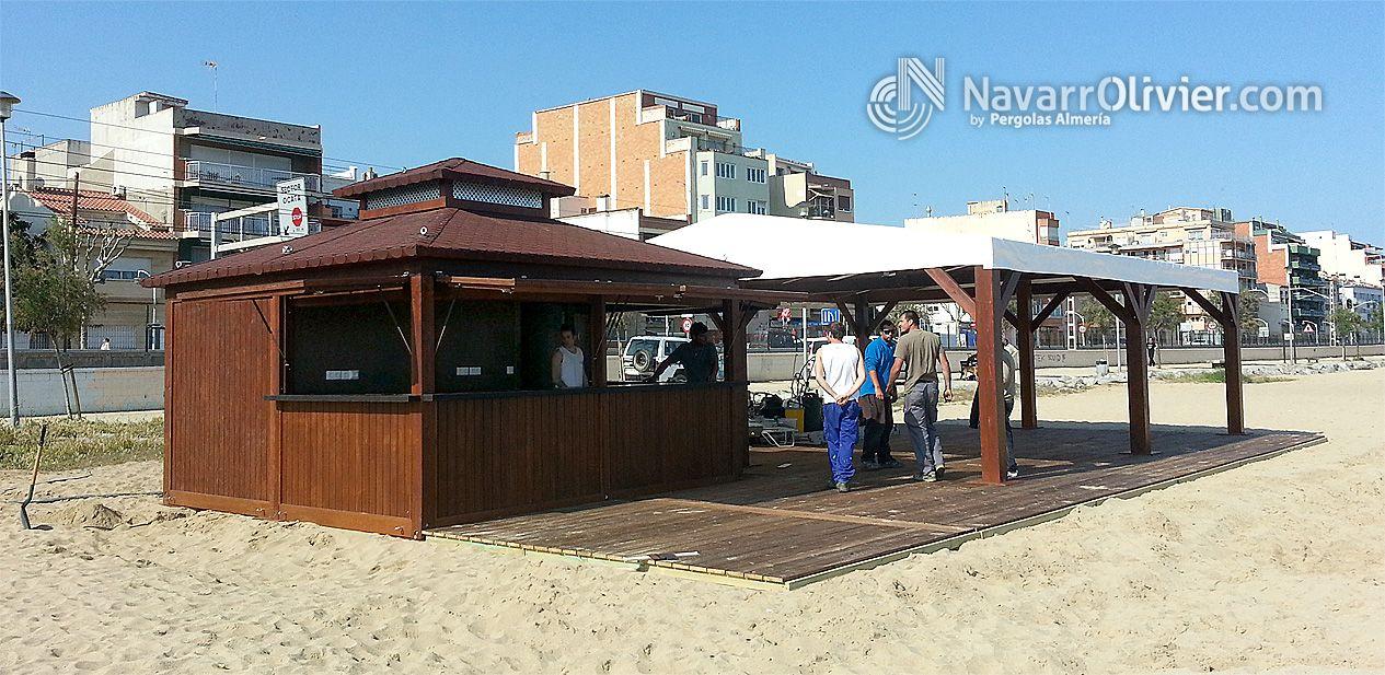Chiringuito desmontable de madera con terraza en autoclave for Alquiler chiringuito madera