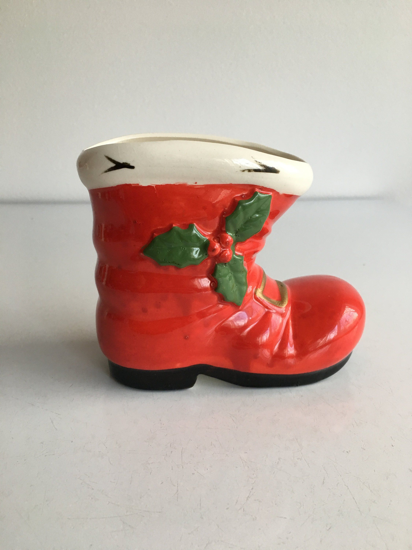 Vintage Christmas Santa Boot Holly Japan Planter Vase Candy Etsy Santa Boots Vintage Christmas Vintage Valentines