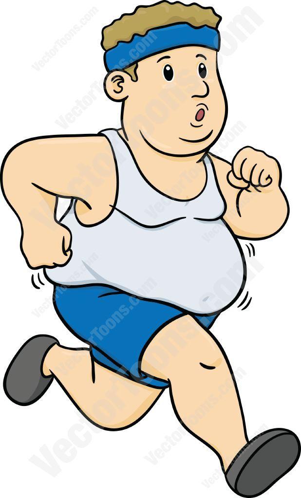 Overweight Man Running Cartoon Clipart | Fat man ...