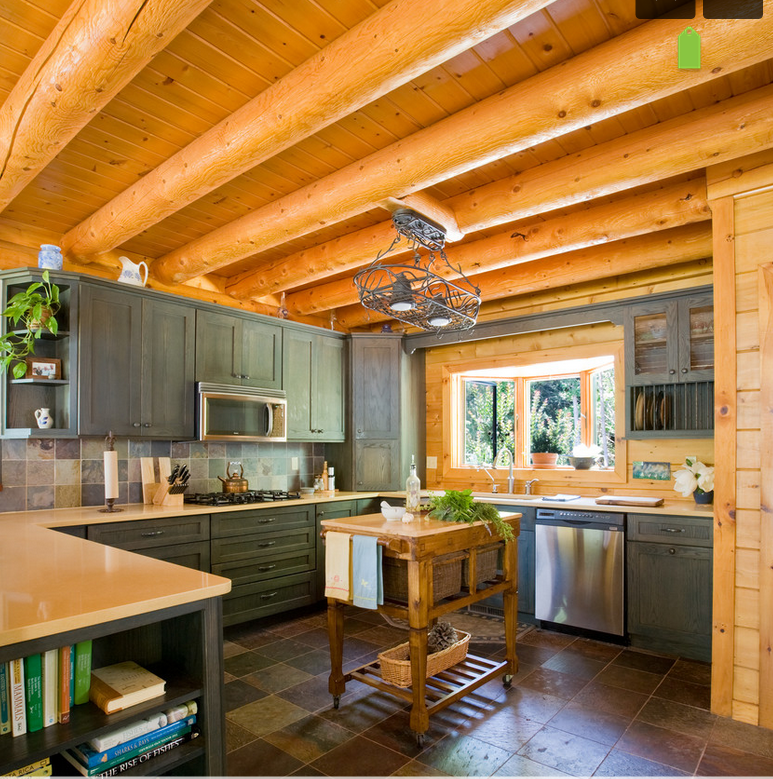 Light Pine Kitchen Cabinets: Light Countertops And Slate Colored Cabinets Are Nice With