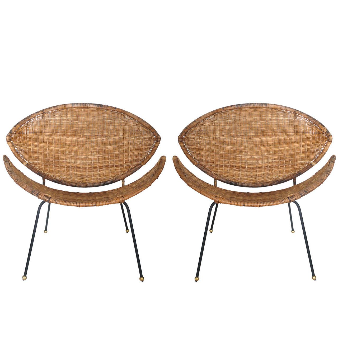 View This Item And Discover Similar Side Chairs For Sale At   Fantastic  Pair Of Sculptural Wicker And Rattan Clam Chairs. Chairs Have An Iron Frame  And ...